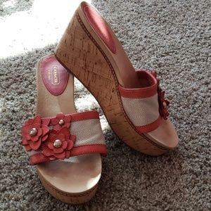 Coach wedge heels coral flowers,